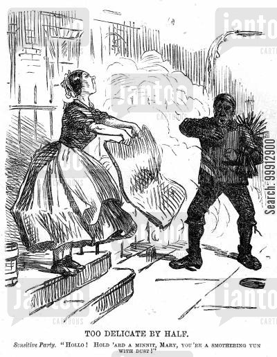 street cartoon humor: Chimney sweep complaining about getting covered in dust