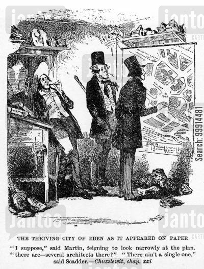 martin chuzzlewit cartoon humor: The thriving city of Eden as it appeared on paper