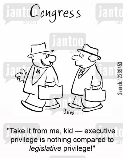 legislative cartoon humor: CONGRESS, 'Take if from me, kid -- executive privilege is nothing compared to legislative privilege!'