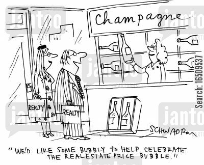 champagne corks cartoon humor: 'We'd like some bubbly to help celebrate the real estate price bubble.'
