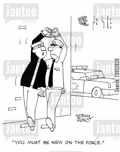 handcuff cartoon humor: 'You must be new on the force.'