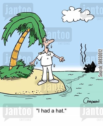 sinking ship cartoon humor: Cruise ship's captain complains God didn't save his hat.