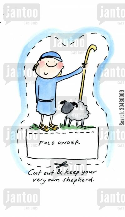 nativity play cartoon humor: Cut out and keep Shepherd.