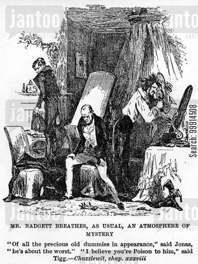 martin chuzzlewit cartoon humor: Mr. Nadgett breathes, as usual, an atmosphere of mystery
