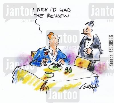 food choices cartoon humor: I wish I'd had the review.