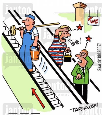 maintenance men cartoon humor: Inconsiderate cleaner.