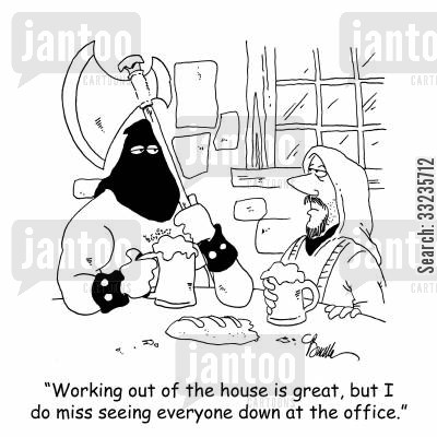 home office cartoon humor: 'Working out of the house is great, but I do miss seeing everyone down at the office.'