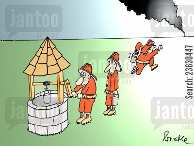 fire service cartoon humor: Firemen using a well.