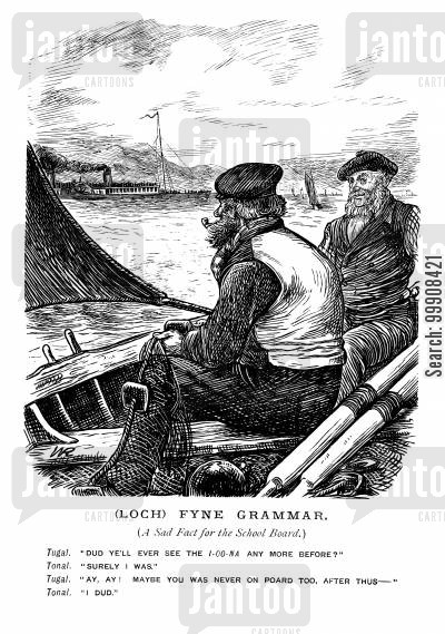 loch cartoon humor: Fishermen on a loch