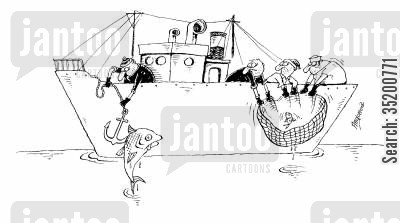 anchors cartoon humor: The anchor of a fishing vessel caught more fish than the nets