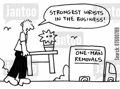 removal van cartoon humor: 'Strongest wrists in the business!'