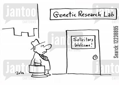 legal profession cartoon humor: Genetic Research Lab - Solicitors Welcome!