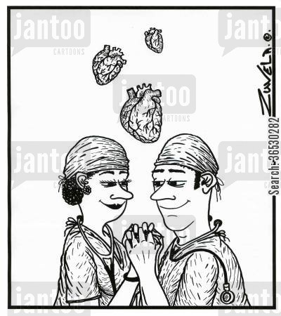 heart transplants cartoon humor: Doctors in Love.