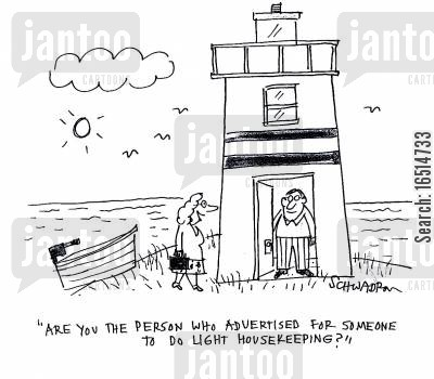 job ad cartoon humor: 'Are you the person who advertised for someone to do light housekeeping?'