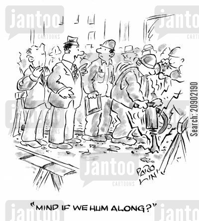 hums along cartoon humor: 'Mind if we hum along?'