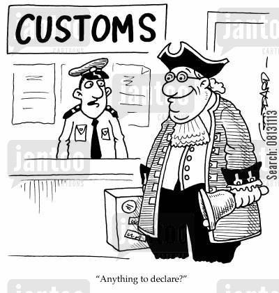 towncrier cartoon humor: 'Anything to declare?'
