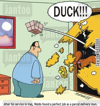 servicemen cartoon humor: 'DUCK'! - After his service in Iraq, waldo found a perfect job as a parcel delivery man.