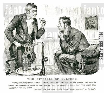 dentists cartoon humor: Butler talking to his master