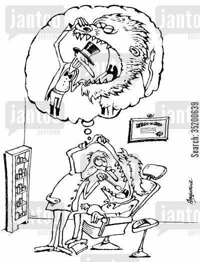 mouths cartoon humor: Dentist imagining himself with his head in a lions mouth