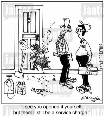 extreme measure cartoon humor: 'I see you opened it yourself, but there'll still be a service charge.'