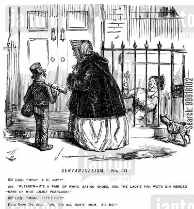 mending cartoon humor: Boy delivering satin shoes and a mended fan for a servant