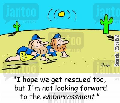mail delivery cartoon humor: 'I hope we get rescued too, but I'm not looking forward to the embarrassment.'