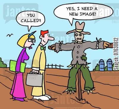 image consultant cartoon humor: You called? Yes, I need a new image!