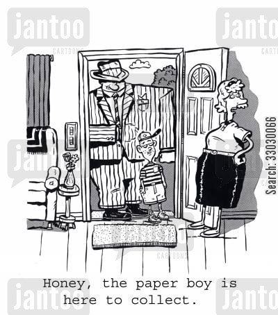 newspaper boys cartoon humor: Honey, the paper boy is here to collect.