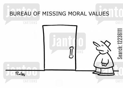 missing morals cartoon humor: Bureau of Missing Morals.