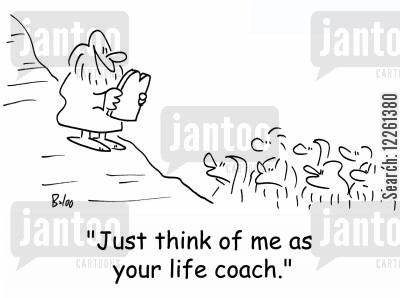 man on the mountain cartoon humor: 'Just think of me as your life coach.'