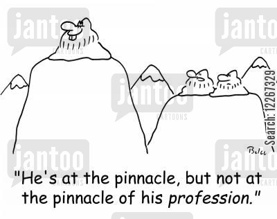 pinnacle cartoon humor: 'He's at the pinnacle, but not at the pinnacle of his PROFESSION.'