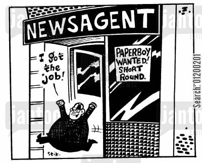 paperboys cartoon humor: Paperboy wanted! Short round.