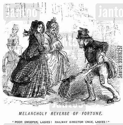 misfortune cartoon humor: Melancholy reverse of fortune. - 'Poor sweeper, ladies! Railway director once, ladies!'
