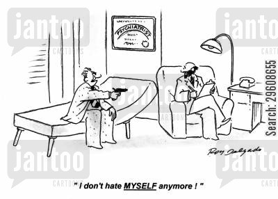 feel better cartoon humor: 'I don't hate myself anymore!'