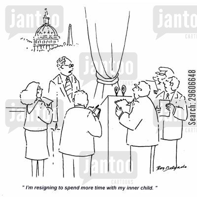 announcing cartoon humor: 'I'm resigning to spend more time with my inner child.'