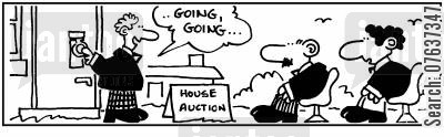 house auctions cartoon humor: House auction. Door knocker is gavel 'Going, going.'