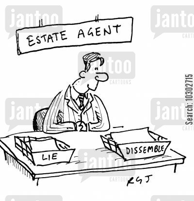 sales pitch cartoon humor: 'Estate Agent.'