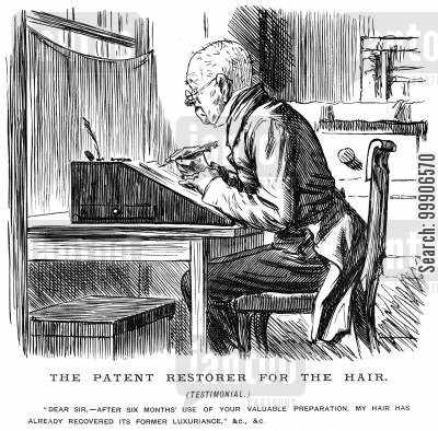 baldness cartoon humor: A man writing a questionable testimonial for a hair restorer patent.