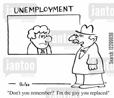 employment offices cartoon humor: Don't you remember? I'm the guy you replaced