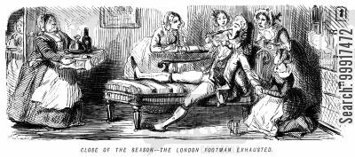 london society cartoon humor: Close of the season - The London footman exhausted.