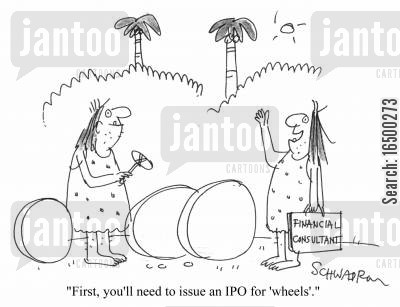 ipo cartoon humor: First, you'll need to issue an IPO for 'wheels'
