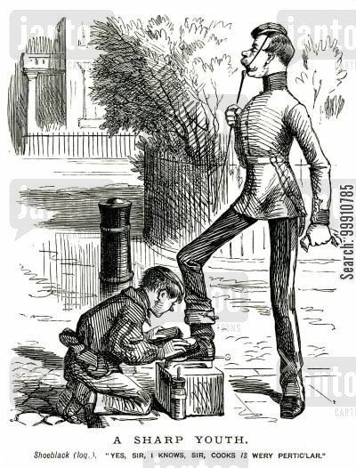 footmen cartoon humor: Boy cleaning servant's shoes