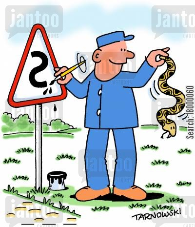 sign painter cartoon humor: Sign writer using a snake as a model.