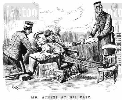 waited on cartoon humor: Mr Atkins at his Ease.
