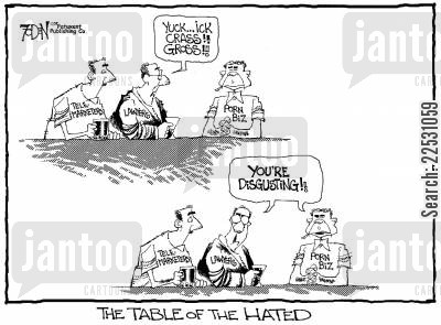 prejudiced cartoon humor: Table of the Hated.