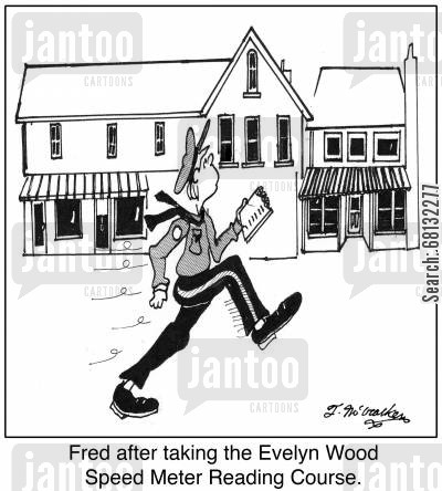 speed reader cartoon humor: Fred after taking the Evelyn Wood Speed Meter Reading Course.