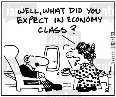 trips cartoon humor: What did you expect in economy class?