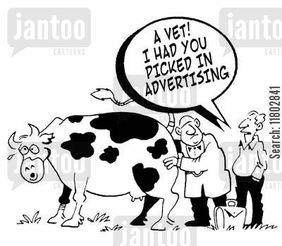 school friend cartoon humor: 'A vet! I had you picked in advertising!'