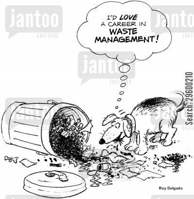 trashcans cartoon humor: 'I'd love a career in waste management!'