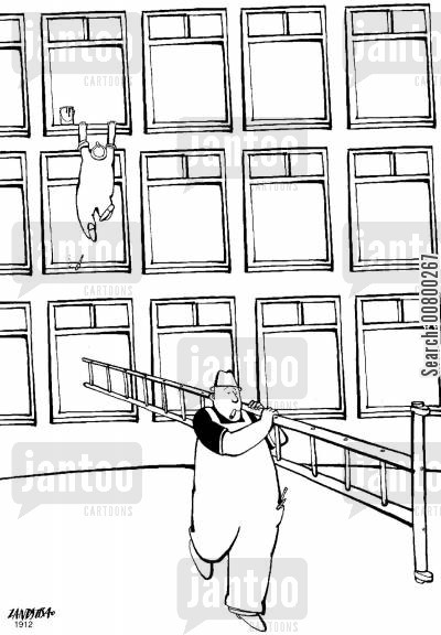 cleaning windows cartoon humor: Window cleaner taking ladder out from under his colleague.